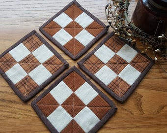 Quilted Coasters/ Quilted Mug Rugs/ Country Coasters Set/ Primitive Coasters/Handmade