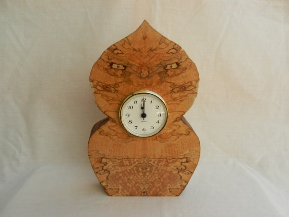 Wooden Mantle Clock Owl Wood Nymph Design In Scottish Spalted