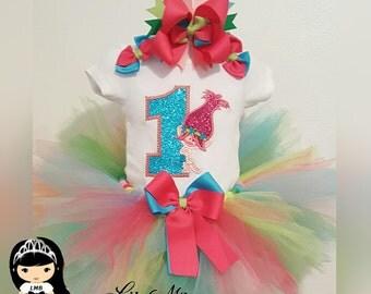 ON SALE Poppy Troll Embroider Tutu Set, poppy troll tutu, poppy troll tutu outfit, poppy tutu, poppy troll birthday tutu, princess poppy