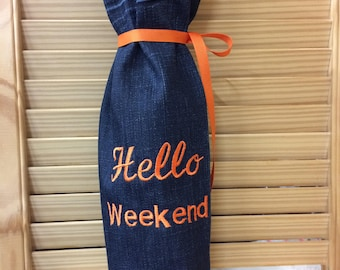 Embroidered wine bottle bag: Hello Weekend