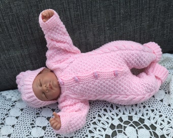 Baby Sleep Suit, Baby Onesie, Knitted Sleepsuit, Baby Girl All-in-one Suit, Reborn Baby Sleep Suit, Baby Shower Gift, Ready to Ship