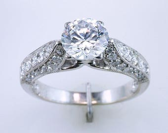 Amazing .65ct Diamond 18K White Gold Semi-Mount Engagement Ring