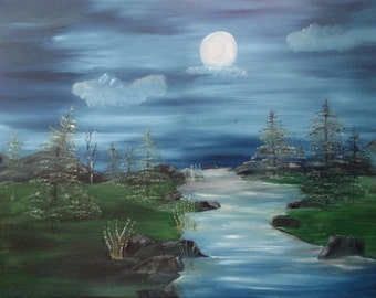 Moonlight on water trees oil on wrapped canvas 18 x 24 lots of blues