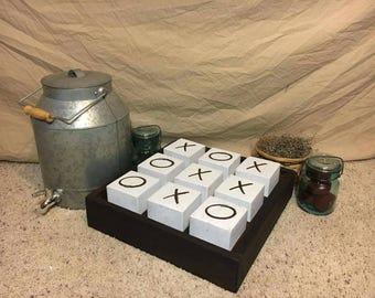 Tic tac toe game wood blocks, desktop decor LOVE