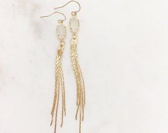 TALIA | Gold Tassel Earrings | Long Gold Tassel + Milky White Stone Earrings | Gold Waterfall Earrings | Gold Dangle Tassel  Earrings