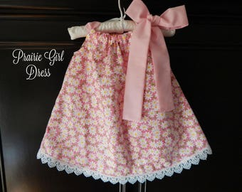 Baby Pink Lemonade Dress, Pink Lace Dress, Baby Shower Gift, Newborn Clothing