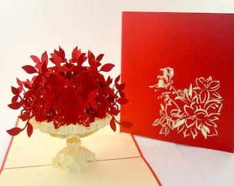 Thank You Pop Up Card - Flower Valentine Card - Love Card - Pop Up Card - Flower Card - Butterfly Card - Proposal - Paper Good