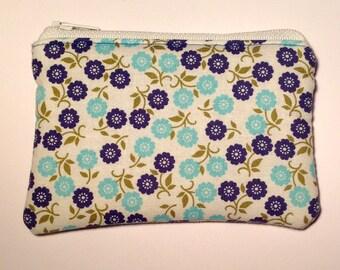 Handmade cotton coin purse - blue floral