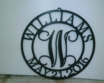1/4 inch thick PVC plastic Circle Monogram Name and Date