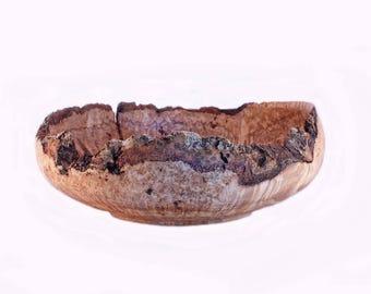 Black Ash Bark On Burl Wood Bowl, Lathe Turned, Wood Turning, Hand Sanded, Polished, Food Safe Finish