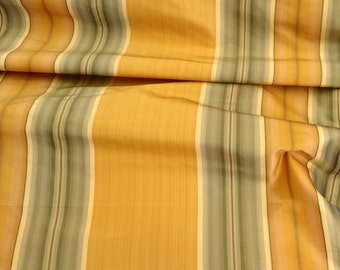 "Silk Fabric, 100 % silk, 54"" wide, Stripe, color Gold/Green, sold by the yard. Free Shipping in USA"