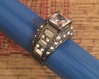 Black cubic zirconia and crystals ring size s1/2 us 9 1/2