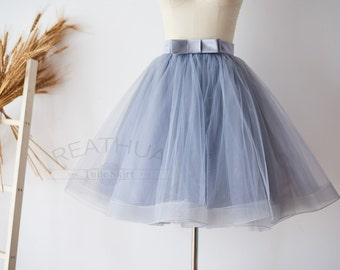 Dusty Blue Horsehair Short Woman TUTU Tulle Skirt /Wedding Bridal Bridesmaid Skirt/Wedding Dress Underskirt Petticoat with Bow