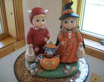ceramic halloween trick or treaters witch and devil characters,kitty and pumpkin