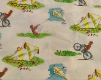 Fast Shipping Curious George scrub top sizes xs to xl made to order 100% Cotton made to order with choice of four (4) neck designs