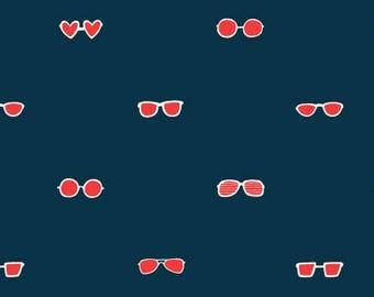 Seas the Day - Sunglasses in Red - Paula and Waffle - Dear Stella Fabrics - Fabric By The Half Yard
