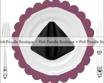 TEXTURED PAPER PLACEMATS (10 pc)  -- Dark Plum Purple -- choose from: Bracket or Scalloped Square, Scalloped or Solid Circle [050]