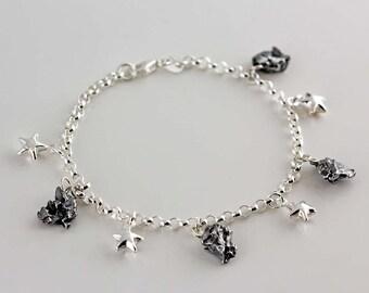 Sterling Silver Meteorite & Star Space Bracelet