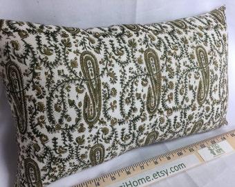 Green Paisley Pillow 15x9~