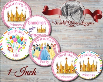 Birthday Princess Bottle Cap Image - 1 inch circles 600dpi, Collage Sheet, Girl Bows, Labels, Pendants, Charms, Cupcake Toppers, Birthday