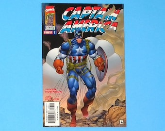 Captain America Comic; #7 Marvel Comics Captain America, (Grade NM) 1997, Jim Lee Captain America (B1)