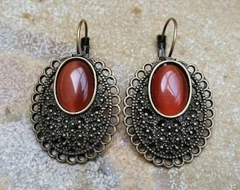 Lever Back Earrings, Orange French Hook, Orange Jewelry, Australian Made, Oval Orange, Gift for her, Large Earrings, Threader Earrings