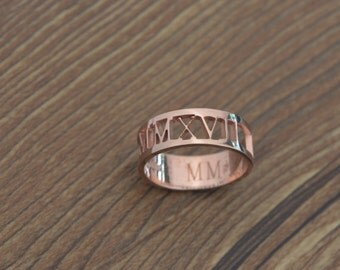 Personalized Rose Gold Roman Numeral Ring, roman ring, Name Ring,Wedding Date ring, Valentines Day,Christmas Gift,Rings for Woman.