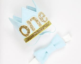 First Birthday Crown of Felt | 1st Birthday Boy Outfit for Cake Smash | Baby Boy First Birthday Outfit | 1st Birthday Hat | Baby Blue Gold