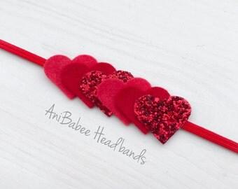 Baby Headband, Glitter Headband, Heart Headband, Valentines Headband, Valentines Day Headband, Newborn Headband, Infant Headband
