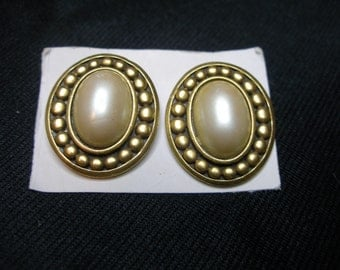Faux Pearl Clip On Earrings Signed YSL
