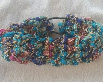 Chic and Sassy Sequined Headband Stretchy Soft Jade Amethyst Fuscia Ready to Ship Adult Size
