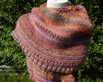 Hand knit shawl. Wool knit shawl. Multi colour shawl. Pink shawl. Knitted wrap. Colourful wrap. Wool knit wrap. Hand knit wrap. Mothers day.
