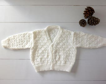 Baby cardigan. 9 month cardigan. Baby knitwear. Baby sweater. Baby jumper. Baby girl. Handknit cardigan. Hand knitted Christening cardigan