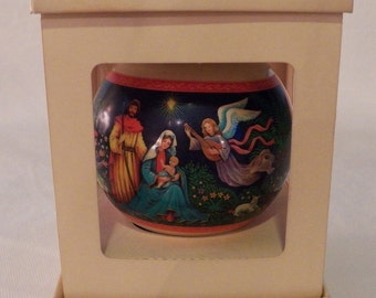 Nativity - RARE - Vintage 1978 Hallmark Glass Ball Ornament - QX2536