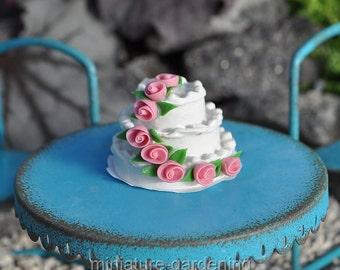 Rosebud Wedding Cake for Miniature Garden, Fairy Garden