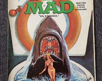 1978 JAWS 2 MAD Magazine From Mexico! Spanish Version! JAWS 2 Spoof Poster! Tiburon! Great White Shark!