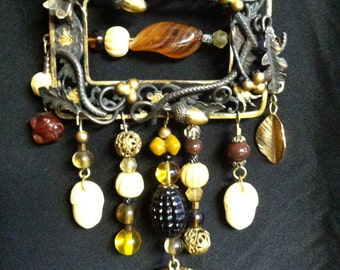 Gilded Brass Victorian Belt Buckle Upcycled necklace Oak and Acorn Motif
