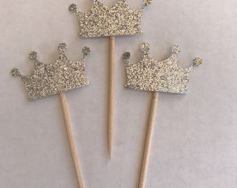 Silver Crown Cake/CupcakeToppers  Item JP0024