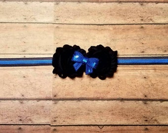 Thin blue line police support headband for baby, toddler and adult