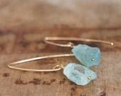 Raw Aquamarine Earrings  Raw Stone Earrings Aquamarine Gold Drop Earrings Aquamarine Jewellery Raw Crystal Jewelry Girlfriend Gift