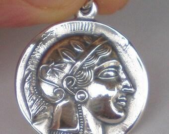 For Sale Athens Tetradrachm - Goddess Athena & Owl of Wisdom Large Silver Pendant