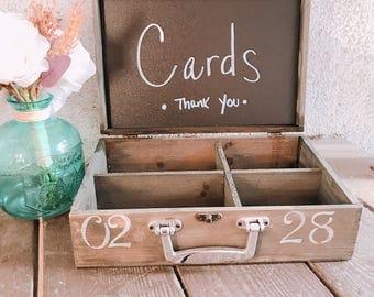 Advice box, card box, wood box, vintage, rustic, distressed box, new baby, chalkboard, wedding, wedding decorations,chic, shabby chic