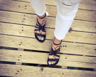 Greek Gladiators , Leather Sandals, Strappy Sandals.Summer women's leather sandals, Handmade,