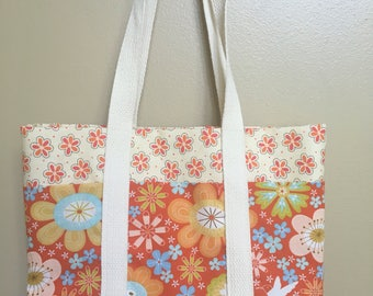 Handmade summer purse, birthday gift for her, small tote with pockets, pretty lunch bag, floral handbag, purse with pockets