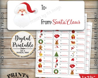 """Christmas Gift Labels, Christmas Labels, Christmas Present Labels, Xmas Tags Xmas Package Labels, Instant Download Printable 1x2-5/8"""" Labels"""