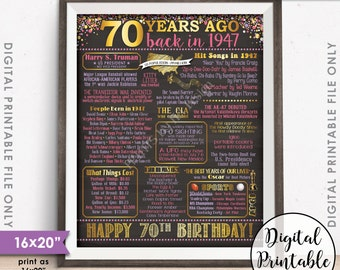 """70th Birthday Gift 1947 Poster, 70 Years USA Flashback Instant Download 8x10/16x20"""" Born in 1947 Birth 70th B-day Chalkboard Style Printable"""