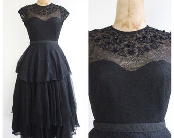 Vintage 1940's Black Lace Tiered Dress sweetheart prom dress ball gown beaded lace floral revival goodwood vintage prom forties 40's evening