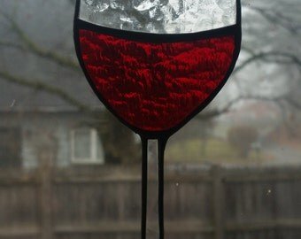 red wine stained glass suncatcher