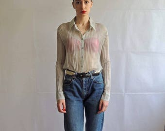 Vintage Sheer Pleated Button Up Blouse