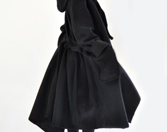 Black wool coat/Casual long coat/Loose maxi coat/Plus size coat/Long warm coat/Plus size jacket/Black jacket/Two pockets/C0234